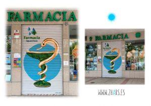 Graffiti pintura mural para farmacia en Guadalajara