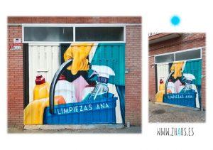 Pintura mural graffiti para empresa de limpieza